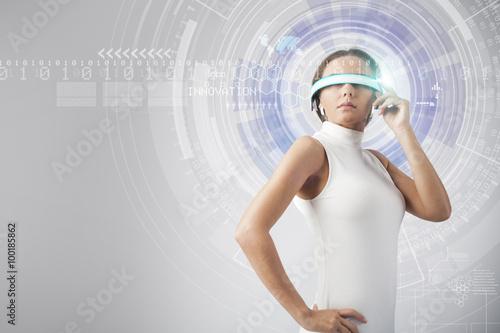 Fotografering  Beautiful woman with futuristic glasses