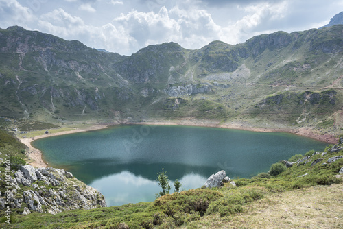 Aluminium Prints Views of Lago de la Cueva (Lake of the Cave) in Saliencia Valley, Somiedo Nature Reserve. It is located in the central area of the Cantabrian Mountains in Asturias, Spain