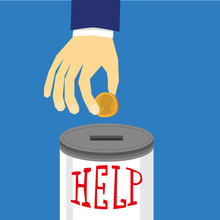 Stylized Human Hand Dropping A Gold Coin Into A Donation Box With The Word Help In Hand Drawn Red Text On The Outside