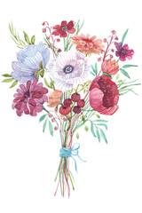 Obraz Watercolor flowers bouquet
