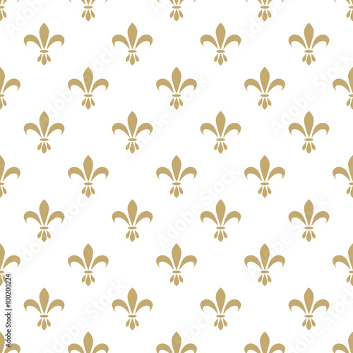 Fleur De Lis Seamless Vector Pattern French Vintage Stylized Lily