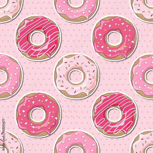 Cotton fabric Seamless Valentine donuts