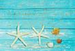 Sommerlicher Holz Hintergrund Muschel und Seesterne Dekoration