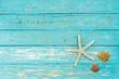 Holz Hintergrund Türkis mit Deko Maritim