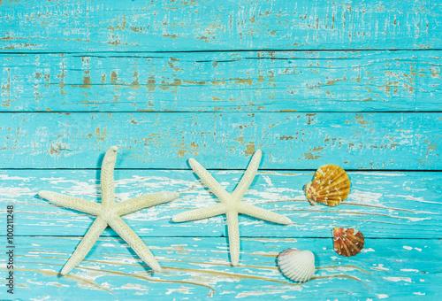 Poster Ecole de Danse Sommerlicher Holz Hintergrund Muschel und Seesterne Dekoration