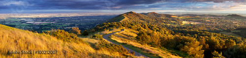 The winding footpath through the Malvern hills in autumn, Worcestershire, England, United Kingdom, Europe
