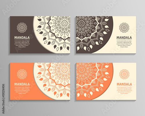 Fotografia  Ornamental template for business card, flyer or banner with round mandala