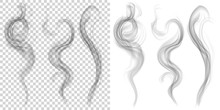Set Of Translucent Gray Smoke On Transparent And White Background. Transparency Only In Vector Format