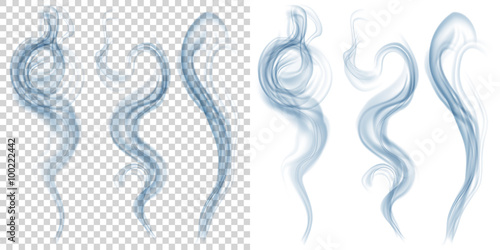 Fotobehang Rook Set of translucent light blue smoke on transparent and white background. Transparency only in vector format