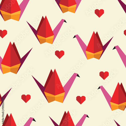 Colorful seamless pattern with origami birds. Can be used for ...