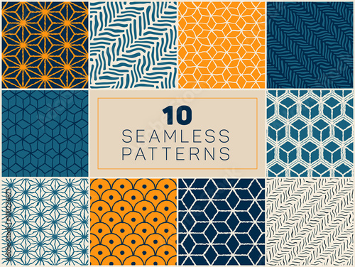 Valokuva  Set of Ten Vector Seamless Hand Drawn Rough Geometric Line Patterns In Blue Navy