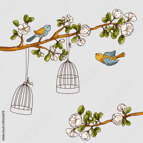 Foto op Aluminium Vogels in kooien Romantic floral background. Birds out of cages. Spring birds flying on the branch