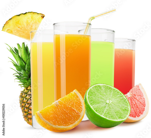 Papiers peints Jus, Sirop mix of fruit juices isolated on the white background