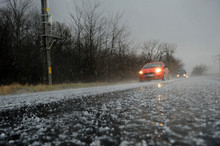 Hailstorm On The Road In A Sum...