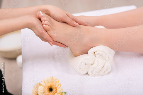 Nice woman having foot treatment