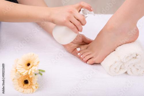 Poster Pedicure Nice woman having foot treatment