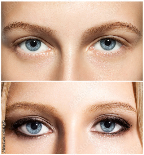 Valokuva  Close-up of a woman's eye make-up before and after