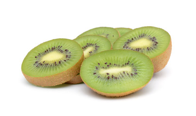 Fresh kiwi fruit slices in stack isolated on the white background