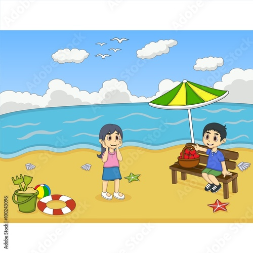 Foto op Canvas Honden Children playing on the beach cartoon vector illustration