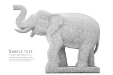 Stone Elephant Statue On White Background, Side View, Clipping P