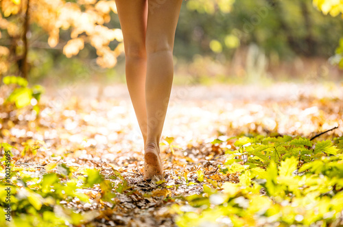 Photo Cropped view of beautiful young woman walking in forest barefoot