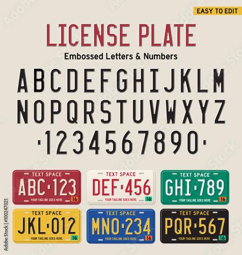 Fotografía  3d license plate font and license plate set