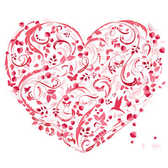 Panel Szklany Romantyczny lovely floral heart for your design