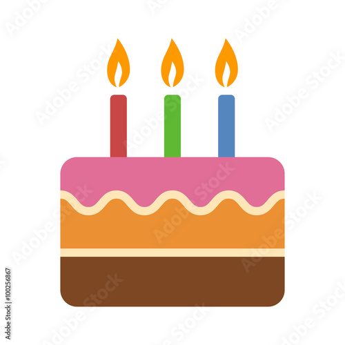 Layered Colorful Birthday Cake With Candles Flat Icon For Food Apps And Websites