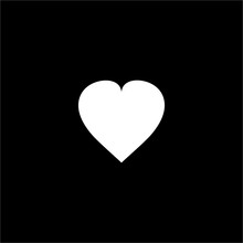 White Heart On Black Background