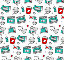 Movie Time Seamless Icons Pattern