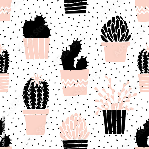 Cotton fabric Hand Drawn Cactus Pattern