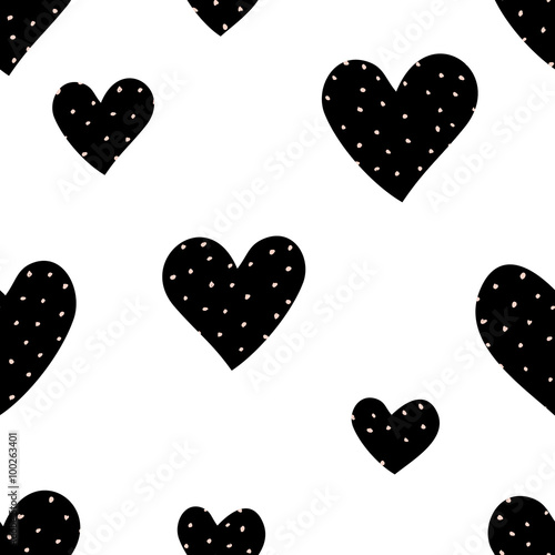Foto auf AluDibond Geometrisch Hearts and Dots Pattern