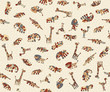 Seamless background with colorful stylized animals Africa. A sample of fabric, wrap or wallpaper. For the convenience of editing the image elements are in different layers.