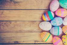 Easter Eggs On Wooden Backgrou...