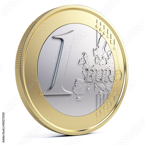 Fotografía  One euro coin isolated on white
