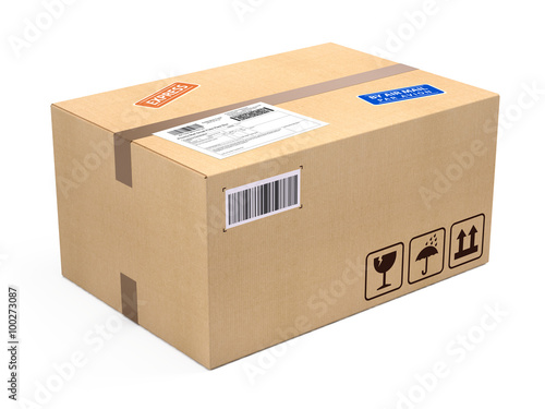 Fotografie, Obraz cardboard box package parcel isolated on white - shipping concept