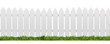 Leinwandbild Motiv White fence with green grass isolated on white with clipping path