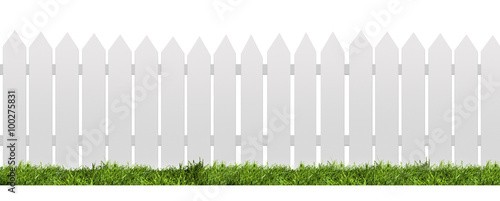 Cuadros en Lienzo White fence with green grass isolated on white with clipping path