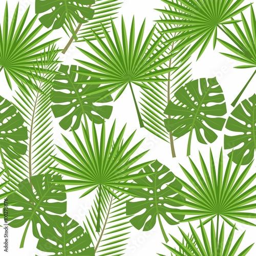 bez-szwu-tropikalnych-lisci-palm-monstera