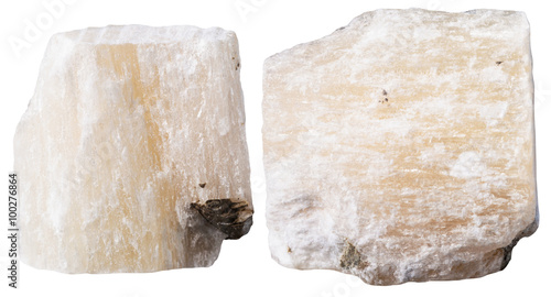 Photo two pieces of gypsum (alabaster) mineral stone