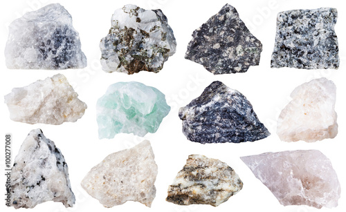 Photo  set of 12 mineral stones isolated