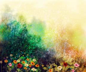 Fototapeta Abstract wildflowers, watercolor painting flower in meadows. Hand paint White, Yellow, Pink, Red, daisy gerbera flowers on yellow green grunge color texture background. Spring flower nature background