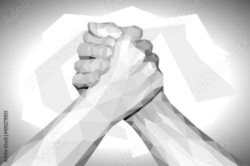 Fotografie, Obraz  polygonal hand handshake friendly arm wrestling fist up on black