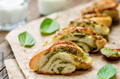 Cuadros en Lienzo braided basil pesto bread