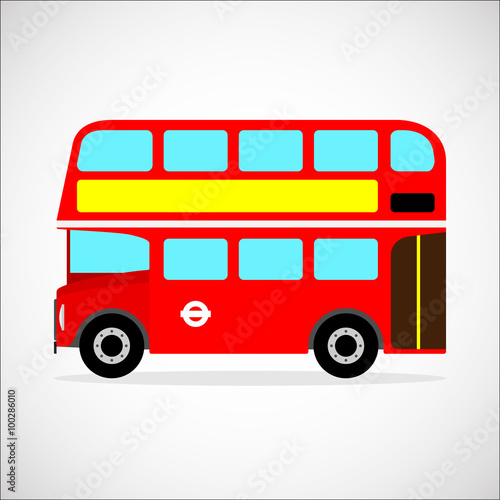 Fotografie, Tablou  Retro city bus on a white background