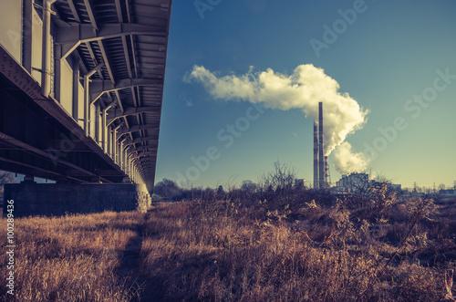 Power plant and Nowohucki bridge over Vistula river, Krakow, Poland