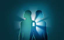 Unlocking The Mysteries Of Life And Death Concept.Two Human Figures Join Together With Bright Rays And Keyhole Between Them.