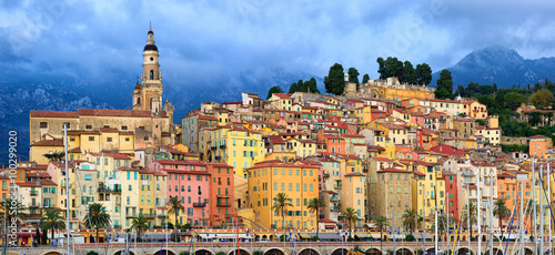 Ingelijste posters Nice Panoramic view of the old town of Menton, Provence, France