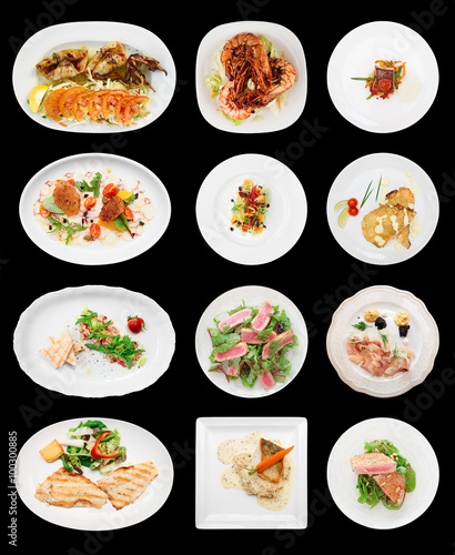 Spoed Foto op Canvas Klaar gerecht Set of farious fish and seafood dishes, isolated