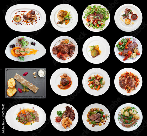 Staande foto Klaar gerecht Set of main meat dishes isolated on black